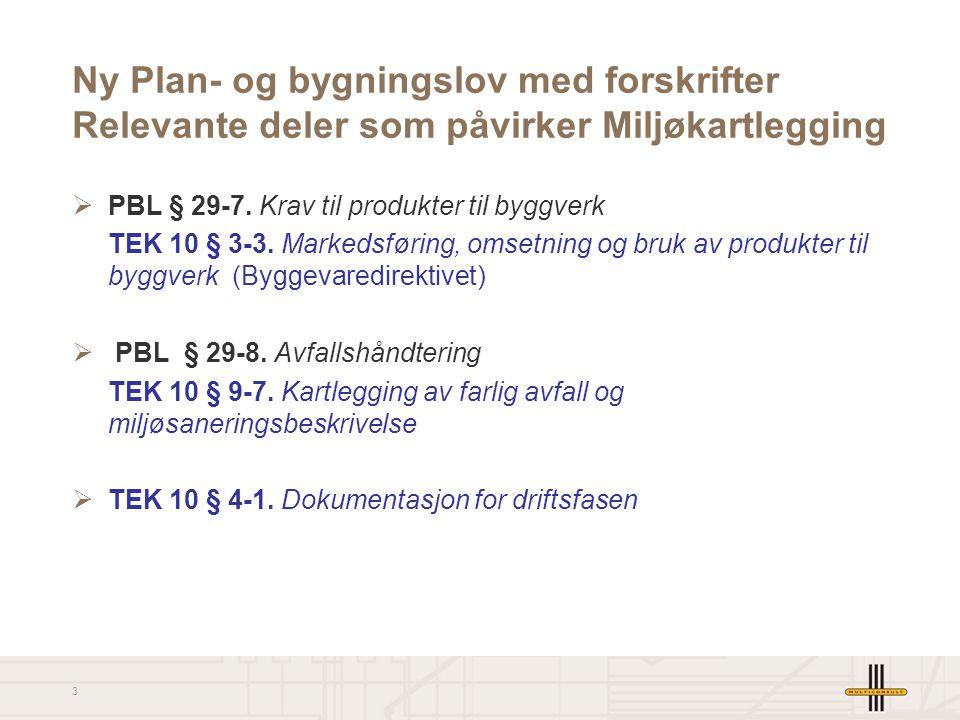 3 Ny Plan- og bygningslov med forskrifter Relevante deler som påvirker Miljøkartlegging  PBL § 29-7. Krav til produkter til byggverk TEK 10 § 3-3. Ma