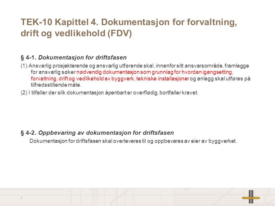 4 TEK-10 Kapittel 4. Dokumentasjon for forvaltning, drift og vedlikehold (FDV) § 4-1. Dokumentasjon for driftsfasen (1) Ansvarlig prosjekterende og an