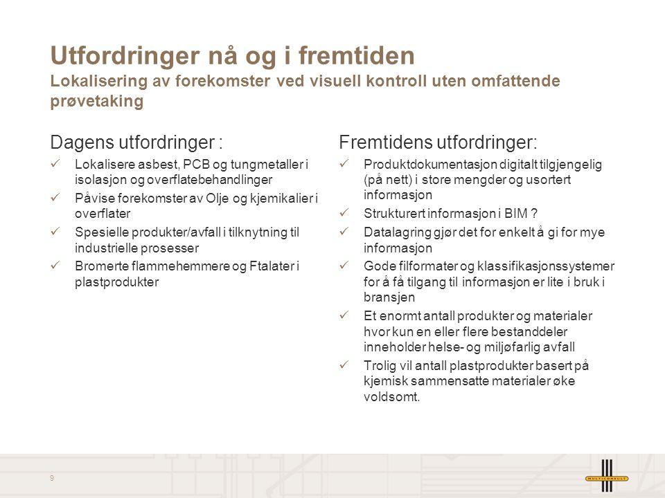 9 Utfordringer nå og i fremtiden Lokalisering av forekomster ved visuell kontroll uten omfattende prøvetaking Dagens utfordringer : Lokalisere asbest,