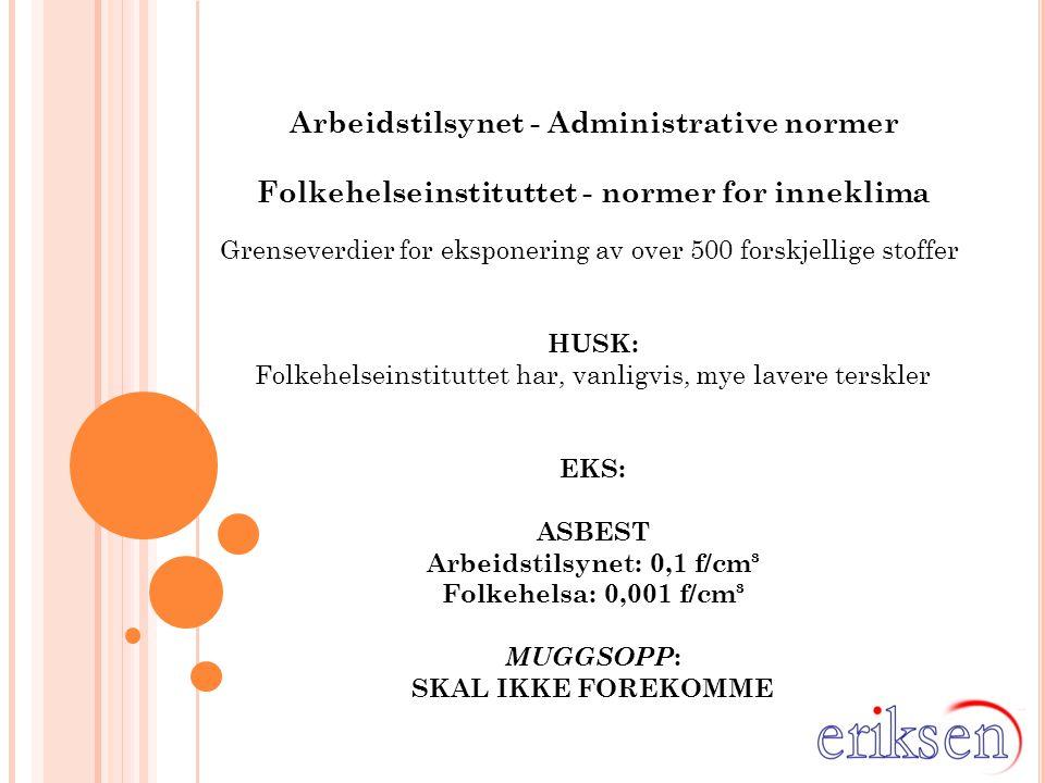Arbeidstilsynet - Administrative normer Folkehelseinstituttet - normer for inneklima Grenseverdier for eksponering av over 500 forskjellige stoffer HU