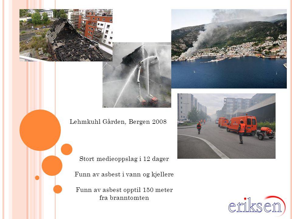 Lehmkuhl Gården, Bergen 2008 Stort medieoppslag i 12 dager Funn av asbest i vann og kjellere Funn av asbest opptil 150 meter fra branntomten