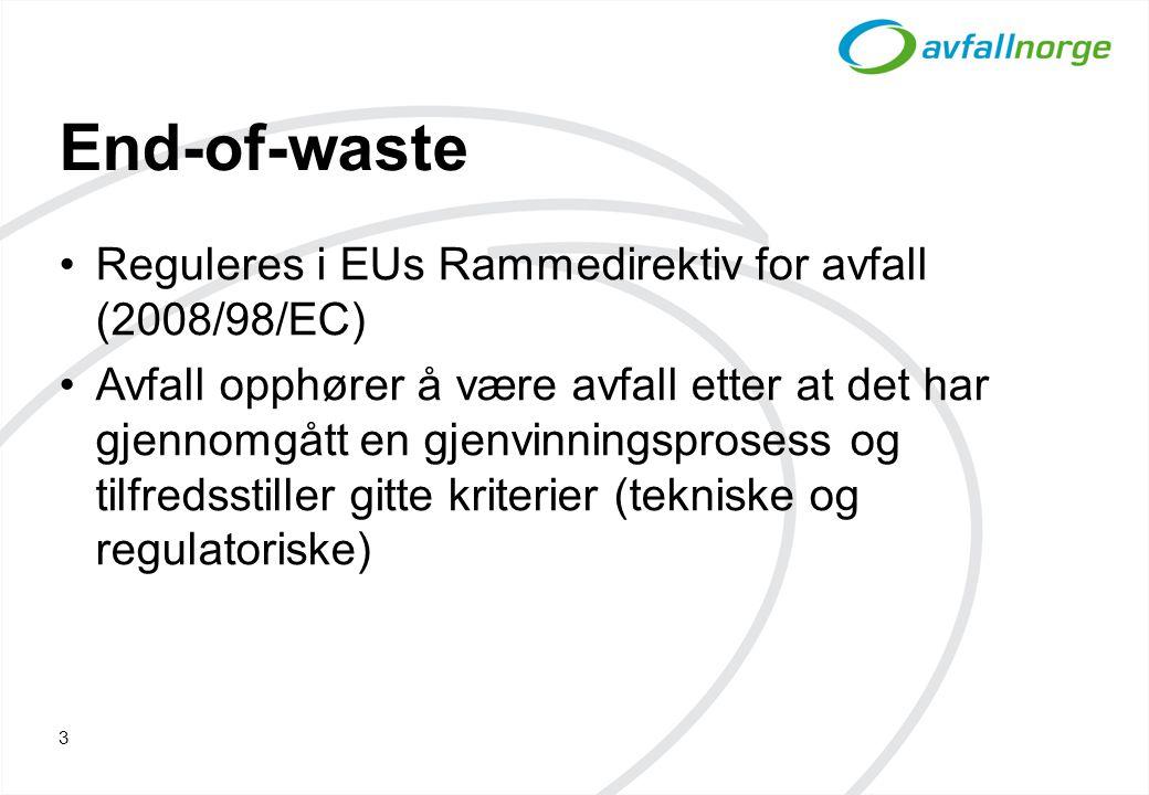 End-of-waste Reguleres i EUs Rammedirektiv for avfall (2008/98/EC) Avfall opphører å være avfall etter at det har gjennomgått en gjenvinningsprosess og tilfredsstiller gitte kriterier (tekniske og regulatoriske) 3