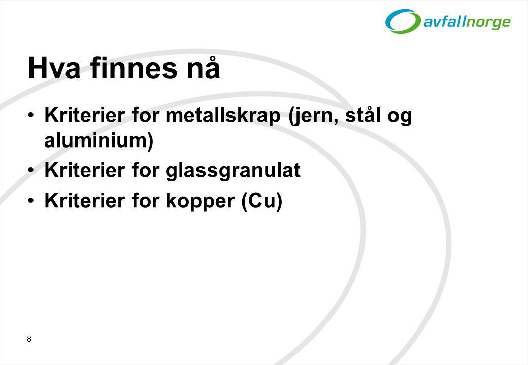 Hva finnes nå Kriterier for metallskrap (jern, stål og aluminium) Kriterier for glassgranulat Kriterier for kopper (Cu) 8