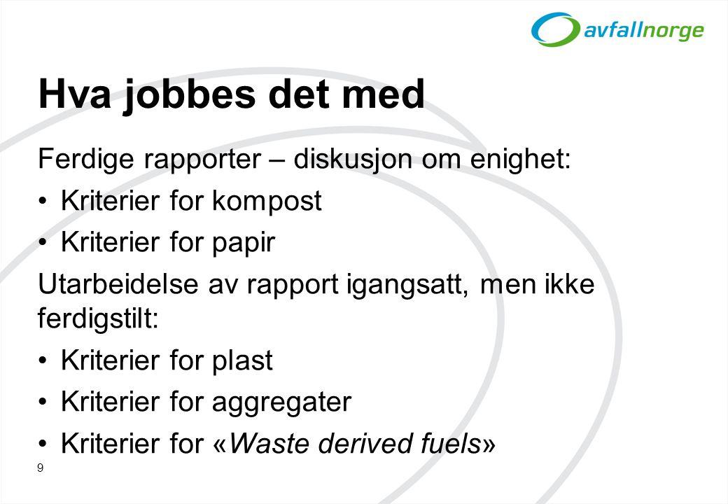 Hva jobbes det med Ferdige rapporter – diskusjon om enighet: Kriterier for kompost Kriterier for papir Utarbeidelse av rapport igangsatt, men ikke fer