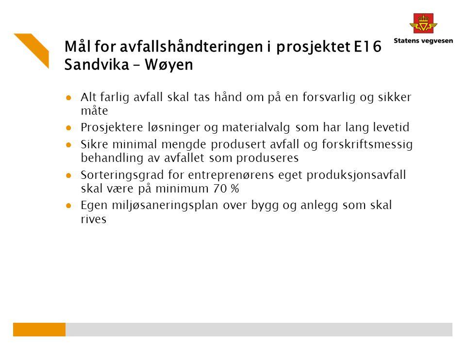 Mål for avfallshåndteringen i prosjektet E16 Sandvika – Wøyen ● Alt farlig avfall skal tas hånd om på en forsvarlig og sikker måte ● Prosjektere løsni