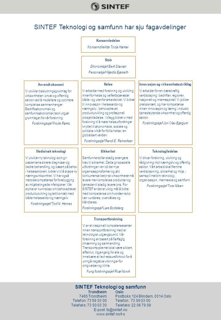 SINTEF Health Research SINTEF Teknologi og samfunn E-post: ts@sintef.no www.sintef.no/t-s Trondheim 7465 Trondheim Telefon: 73 59 03 00 Telefaks: 73 50 03 30 Oslo Postboks 124 Blindern, 0314 Oslo Telefon: 73 59 03 00 Telefaks: 22 06 79 09 Teknologiledelse Vi driver forskning, utvikling og rådgivning mot næringsliv og offentlig sektor.