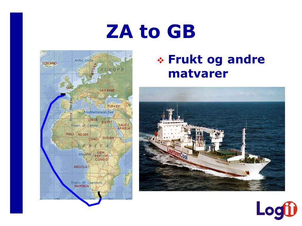 ZA to GB  Frukt og andre matvarer