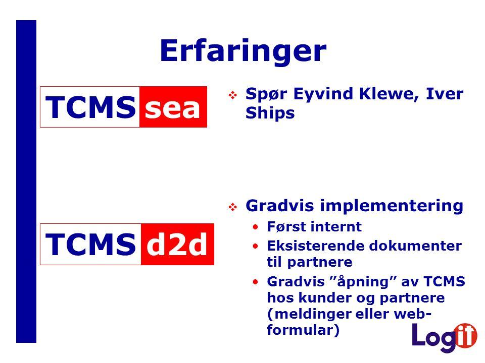 Erfaringer  Spør Eyvind Klewe, Iver Ships  Gradvis implementering Først internt Eksisterende dokumenter til partnere Gradvis åpning av TCMS hos kunder og partnere (meldinger eller web- formular) seaTCMSd2dTCMS