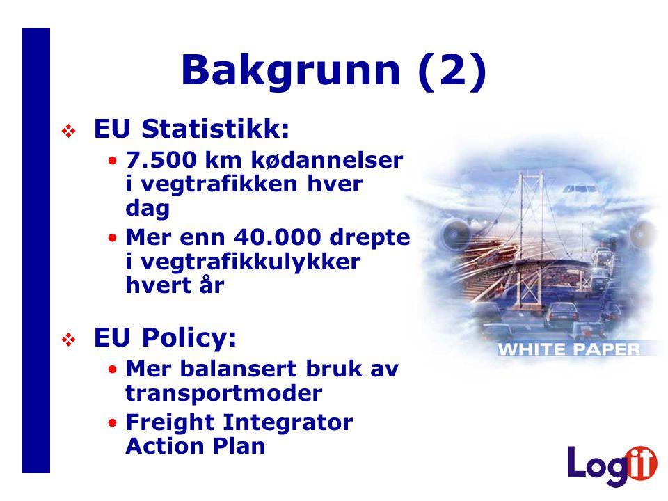Bakgrunn (2)  EU Statistikk: 7.500 km kødannelser i vegtrafikken hver dag Mer enn 40.000 drepte i vegtrafikkulykker hvert år  EU Policy: Mer balansert bruk av transportmoder Freight Integrator Action Plan