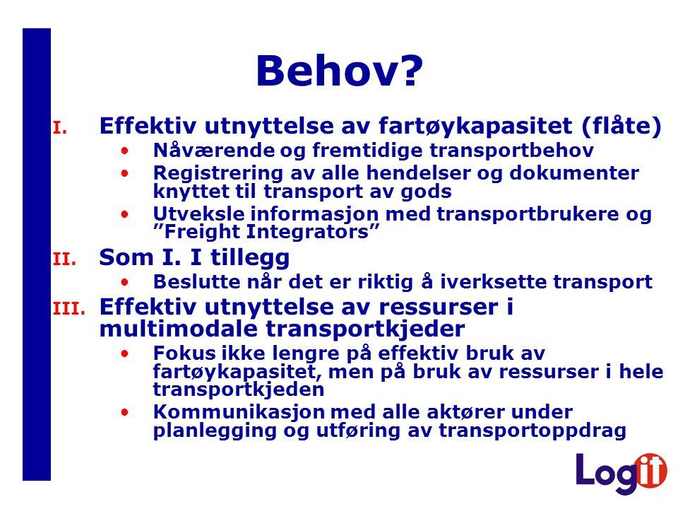 Behov? I. Effektiv utnyttelse av fartøykapasitet (flåte) Nåværende og fremtidige transportbehov Registrering av alle hendelser og dokumenter knyttet t