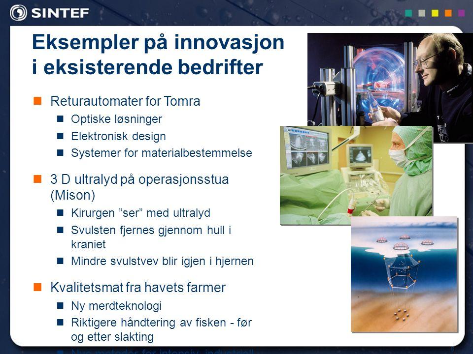 8 Eksempler på innovasjon i eksisterende bedrifter Returautomater for Tomra Optiske løsninger Elektronisk design Systemer for materialbestemmelse 3 D