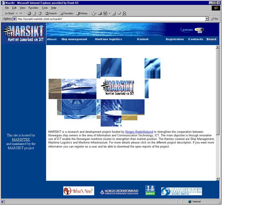 http://prosjekt.marintek.sintef.no/marsikt/ Historie og sammenhenger Fremtidig Utvikling av Skipsfarten og Skipsfartens markeder - FUSS Forprosjekt 2000/2001 MARINTEK BI DNV NHH MARINTEK NTNU DNV NHH BI Hovedtema IKT – verdiskapende muligheter Forretningsutvikling IKT i logistikk-kjeder Innovasjon IKT for effektivisering og økt kvalitet IKT tilpasses organisasjon og arbeidsprosesser IKT forankret i rederienes strategiske utvikling Benchmark av næringen-etablering av styringsparametre