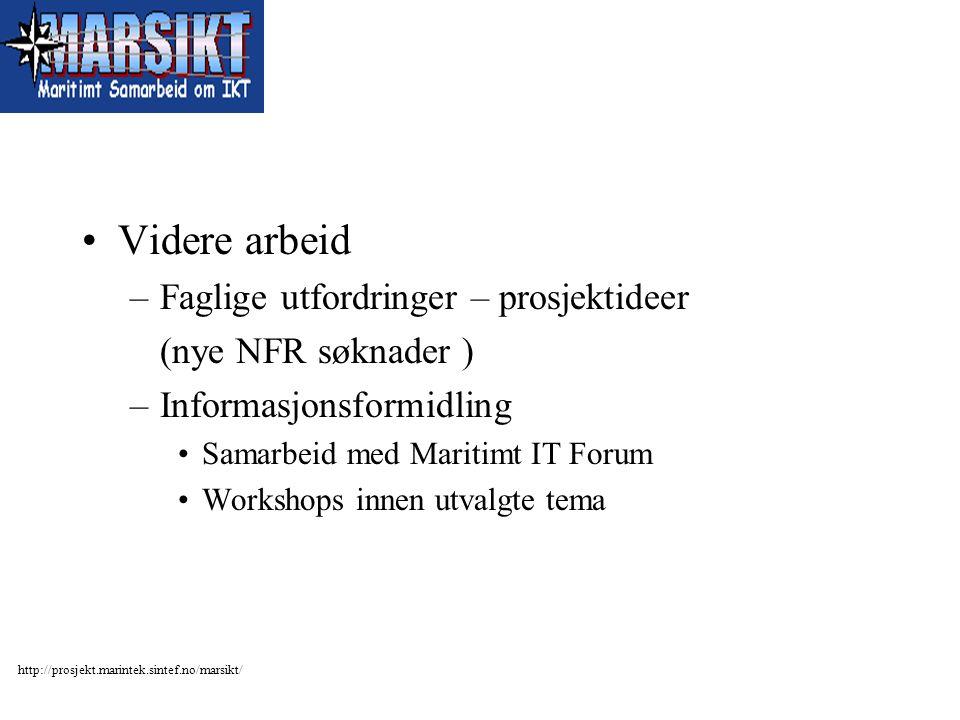 http://prosjekt.marintek.sintef.no/marsikt/ Videre arbeid –Faglige utfordringer – prosjektideer (nye NFR søknader ) –Informasjonsformidling Samarbeid