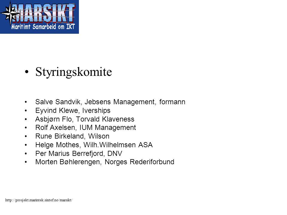 http://prosjekt.marintek.sintef.no/marsikt/ Styringskomite Salve Sandvik, Jebsens Management, formann Eyvind Klewe, Iverships Asbjørn Flo, Torvald Kla