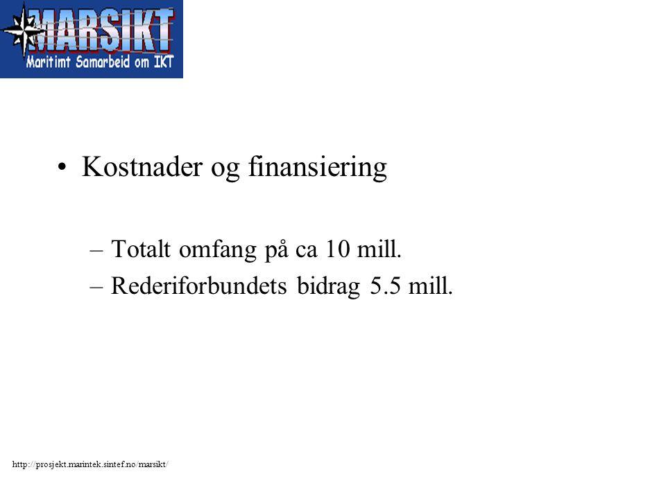http://prosjekt.marintek.sintef.no/marsikt/ Kostnader og finansiering –Totalt omfang på ca 10 mill. –Rederiforbundets bidrag 5.5 mill.