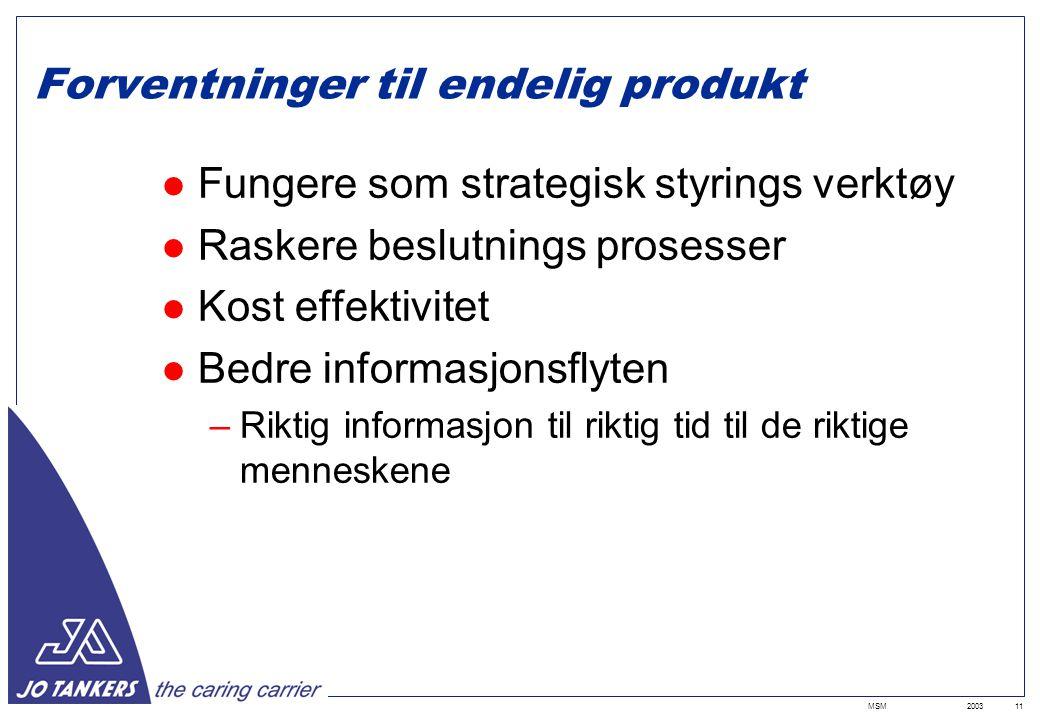 2003MSM11 Forventninger til endelig produkt Fungere som strategisk styrings verktøy Raskere beslutnings prosesser Kost effektivitet Bedre informasjonsflyten –Riktig informasjon til riktig tid til de riktige menneskene