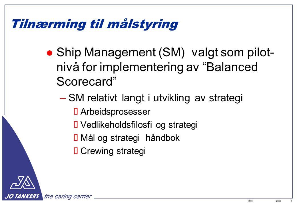 2003MSM3 Tilnærming til målstyring Ship Management (SM) valgt som pilot- nivå for implementering av Balanced Scorecard –SM relativt langt i utvikling av strategi  Arbeidsprosesser  Vedlikeholdsfilosfi og strategi  Mål og strategi håndbok  Crewing strategi