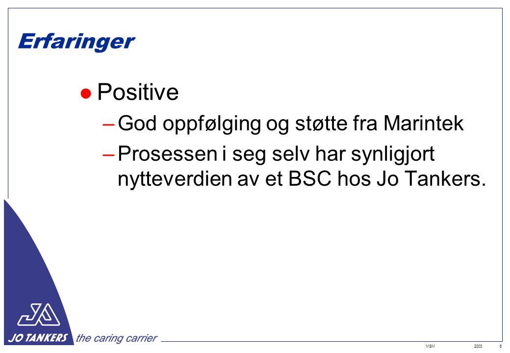 2003MSM6 Erfaringer Positive –God oppfølging og støtte fra Marintek –Prosessen i seg selv har synligjort nytteverdien av et BSC hos Jo Tankers.