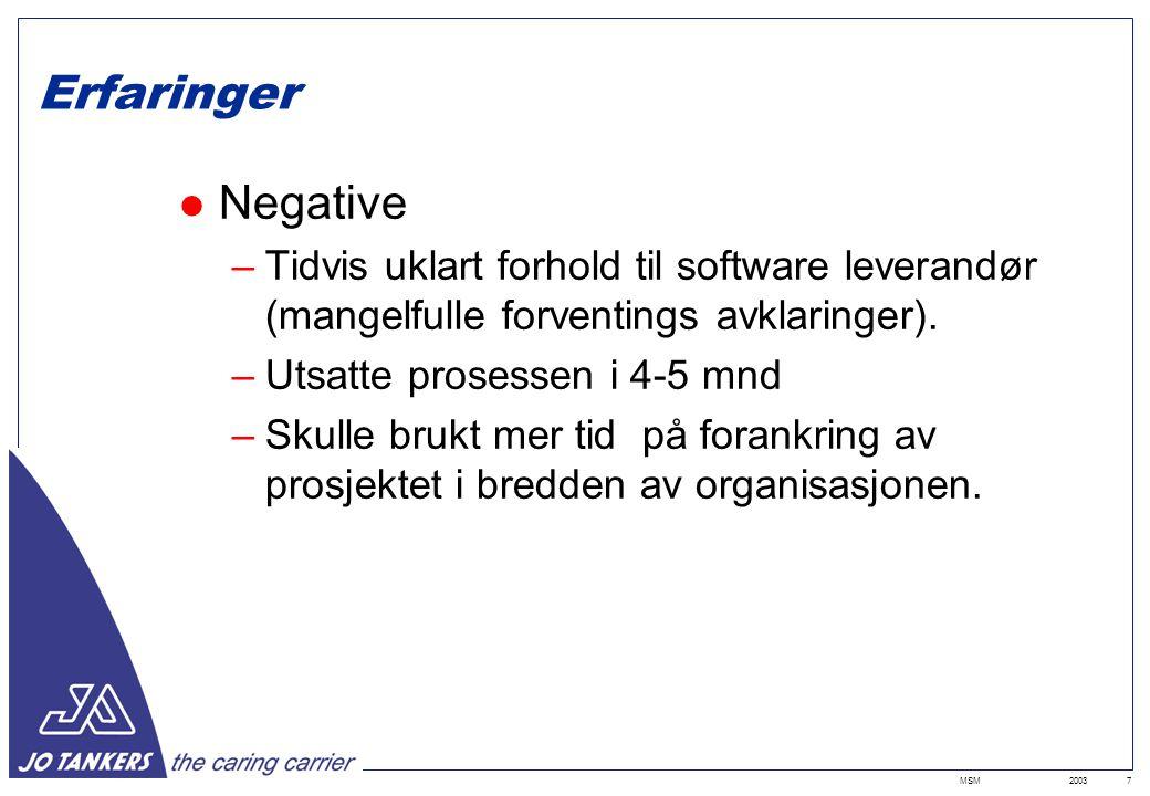 2003MSM7 Erfaringer Negative –Tidvis uklart forhold til software leverandør (mangelfulle forventings avklaringer).