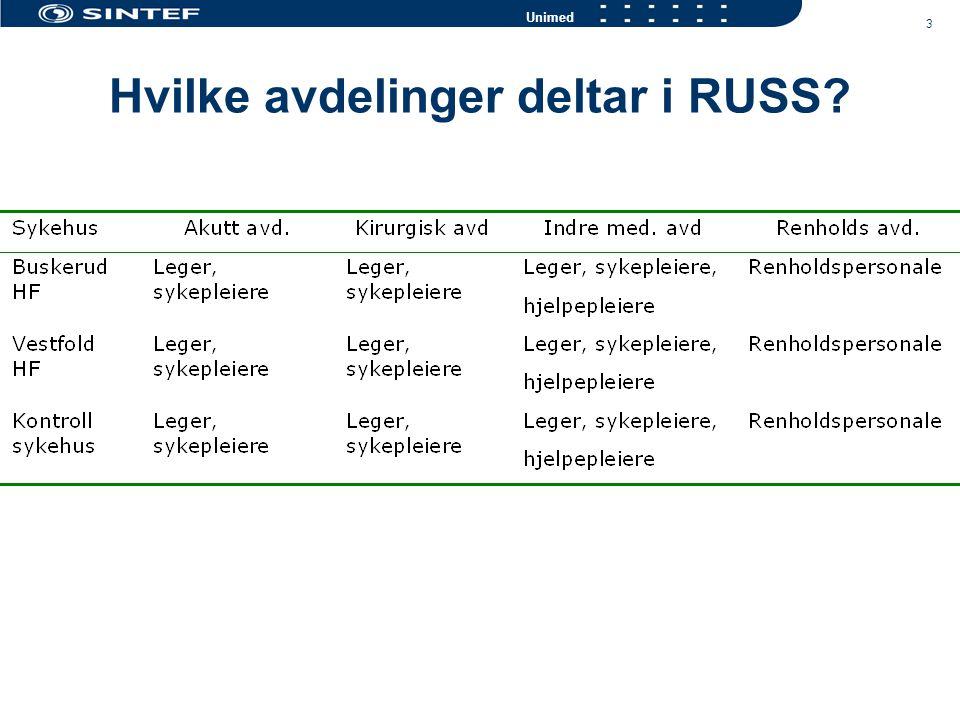 3 Unimed Hvilke avdelinger deltar i RUSS?