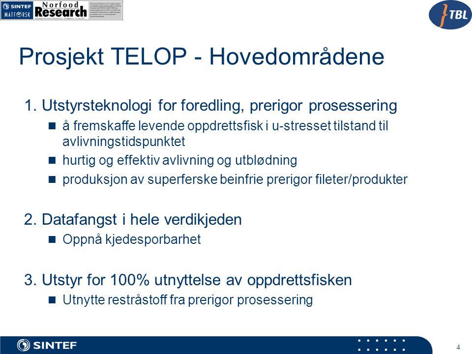 4 Prosjekt TELOP - Hovedområdene 1.Utstyrsteknologi for foredling, prerigor prosessering å fremskaffe levende oppdrettsfisk i u-stresset tilstand til