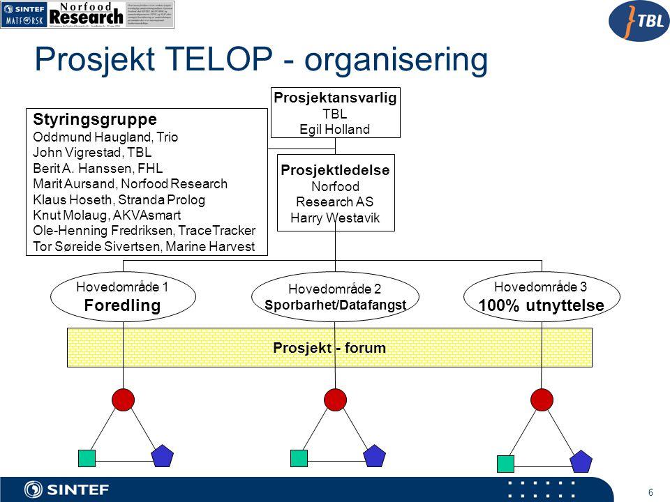 6 Prosjekt TELOP - organisering Prosjektansvarlig TBL Egil Holland Prosjektledelse Norfood Research AS Harry Westavik Styringsgruppe Oddmund Haugland,