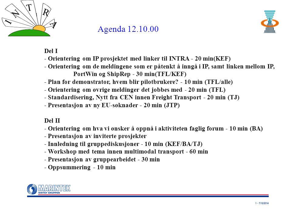 1 - 7/12/2014 I N T R A Del I - Orientering om IP prosjektet med linker til INTRA - 20 min(KEF) - Orientering om de meldingene som er påtenkt å inngå i IP, samt linken mellom IP, PortWin og ShipRep - 30 min(TFL/KEF) - Plan for demonstrator, hvem blir pilotbrukere.