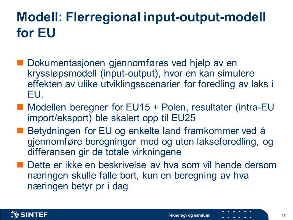 Teknologi og samfunn 17 Modell: Flerregional input-output-modell for EU Dokumentasjonen gjennomføres ved hjelp av en kryssløpsmodell (input-output), h