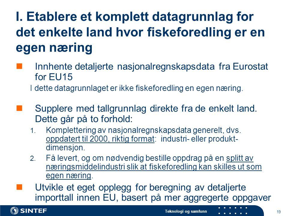 Teknologi og samfunn 19 I. Etablere et komplett datagrunnlag for det enkelte land hvor fiskeforedling er en egen næring Innhente detaljerte nasjonalre