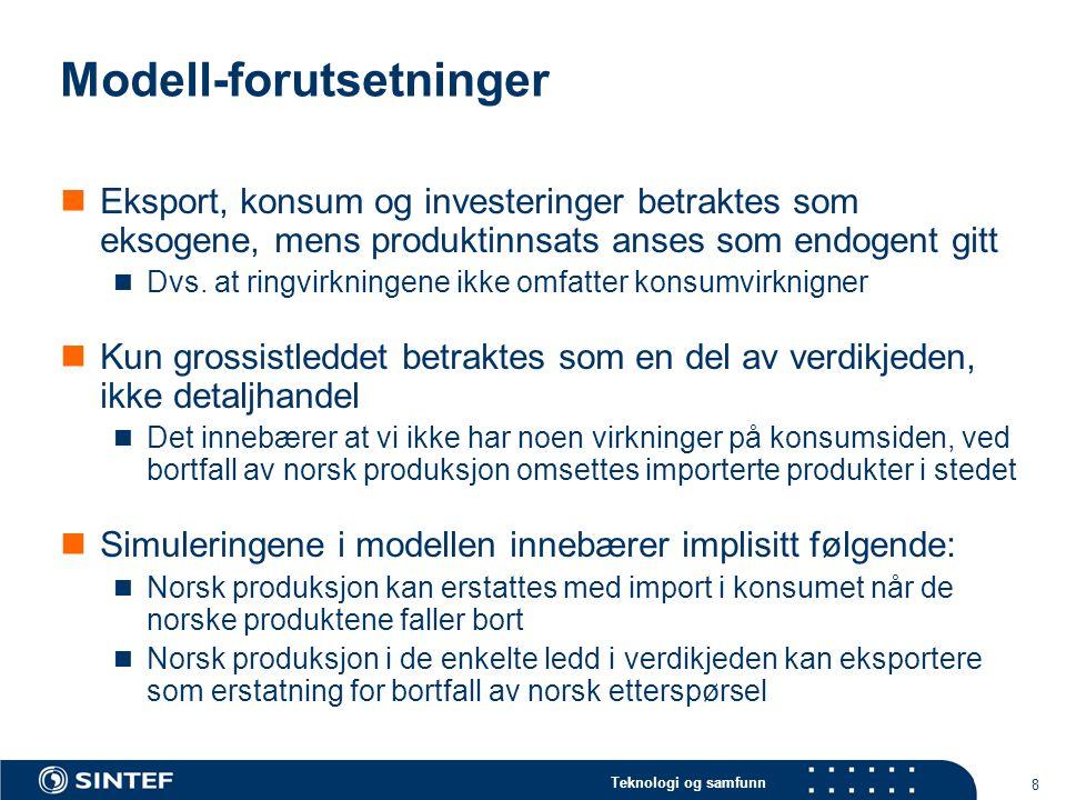 Teknologi og samfunn 8 Modell-forutsetninger Eksport, konsum og investeringer betraktes som eksogene, mens produktinnsats anses som endogent gitt Dvs.