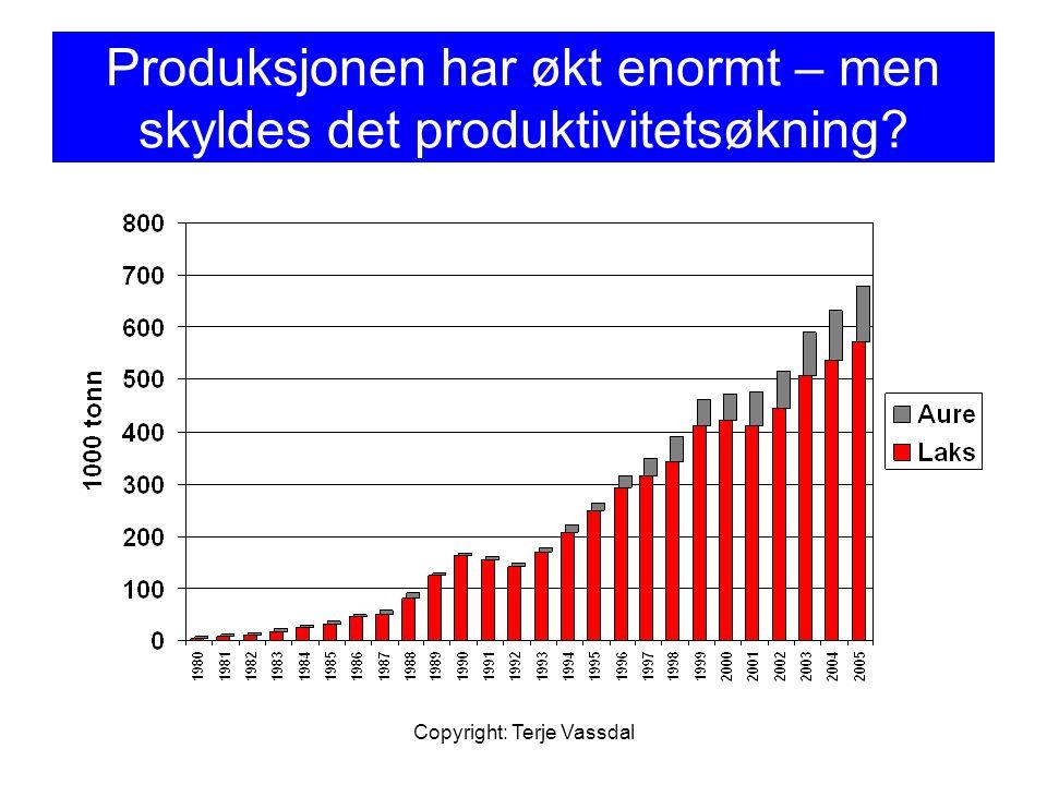 Copyright: Terje Vassdal Resultater av estimert lærekurve; akkumulert produksjon For hele perioden: b= -0,294 og derfor De 9 siste årene b= -0,254 og derfor