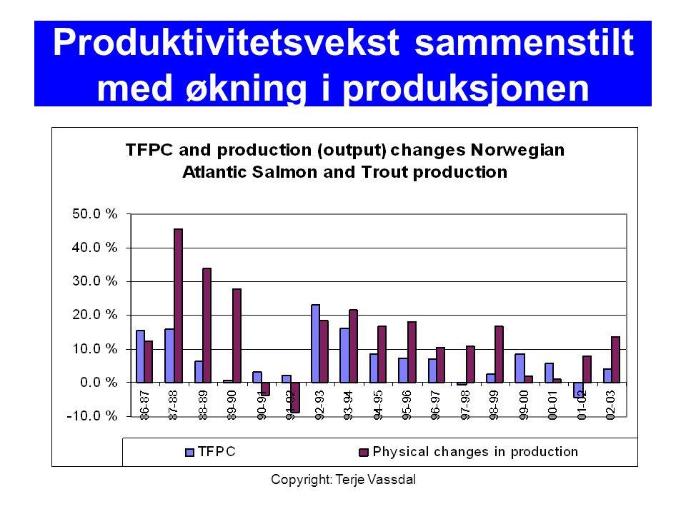Copyright: Terje Vassdal Produktivitetsvekst sammenstilt med økning i produksjonen