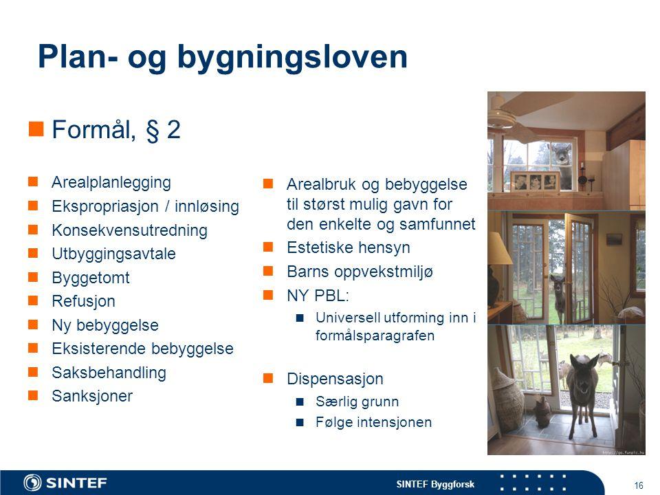 SINTEF Byggforsk 16 Plan- og bygningsloven Formål, § 2 Arealplanlegging Ekspropriasjon / innløsing Konsekvensutredning Utbyggingsavtale Byggetomt Refu