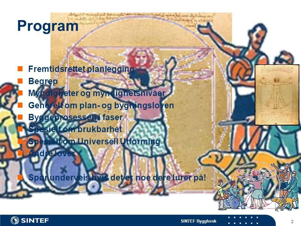 2 Program Fremtidsrettet planlegging Begrep Myndigheter og myndighetsnivåer Generelt om plan- og bygningsloven Byggeprosessen i faser Spesielt om bruk