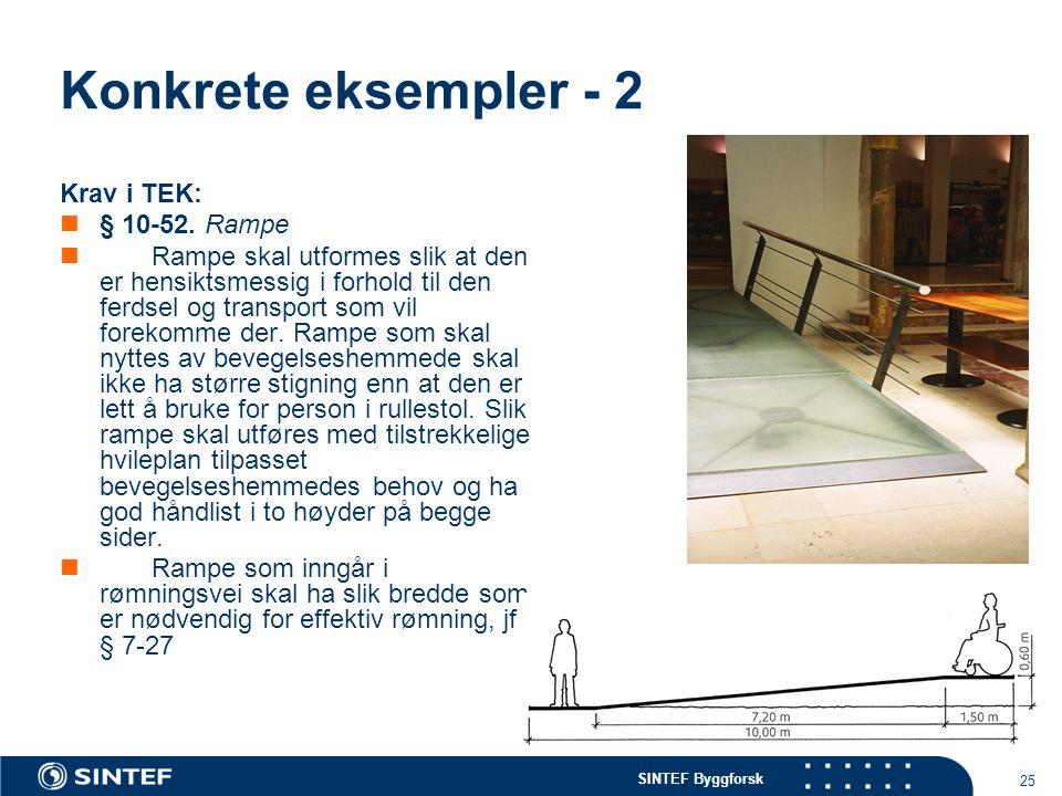 SINTEF Byggforsk 25 Konkrete eksempler - 2 Krav i TEK: § 10-52. Rampe Rampe skal utformes slik at den er hensiktsmessig i forhold til den ferdsel og t