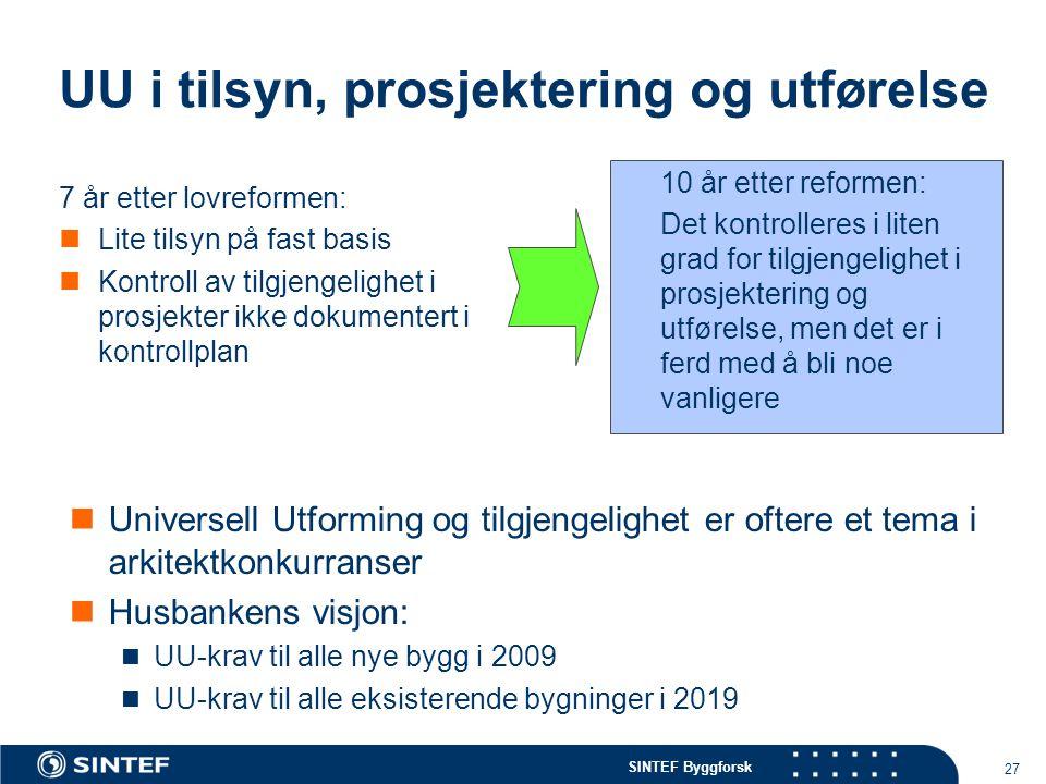 SINTEF Byggforsk 27 UU i tilsyn, prosjektering og utførelse 7 år etter lovreformen: Lite tilsyn på fast basis Kontroll av tilgjengelighet i prosjekter