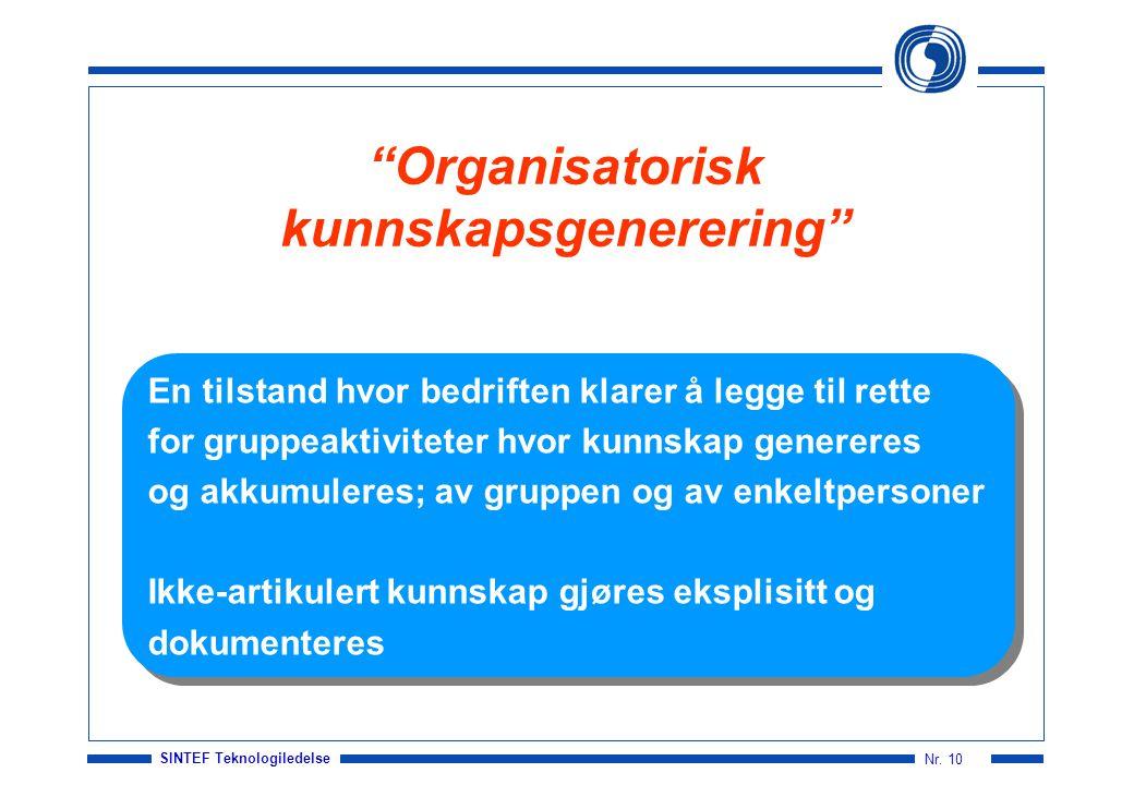 """SINTEF Teknologiledelse Nr. 10 """"Organisatorisk kunnskapsgenerering"""" En tilstand hvor bedriften klarer å legge til rette for gruppeaktiviteter hvor kun"""