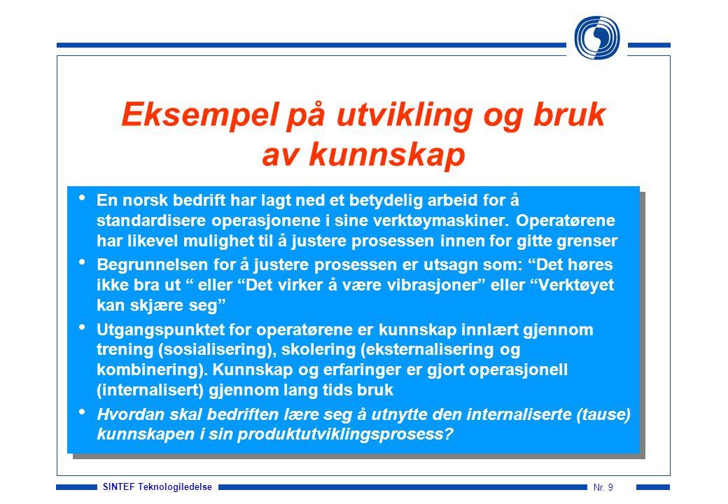 SINTEF Teknologiledelse Nr. 9 Eksempel på utvikling og bruk av kunnskap  En norsk bedrift har lagt ned et betydelig arbeid for å standardisere operas