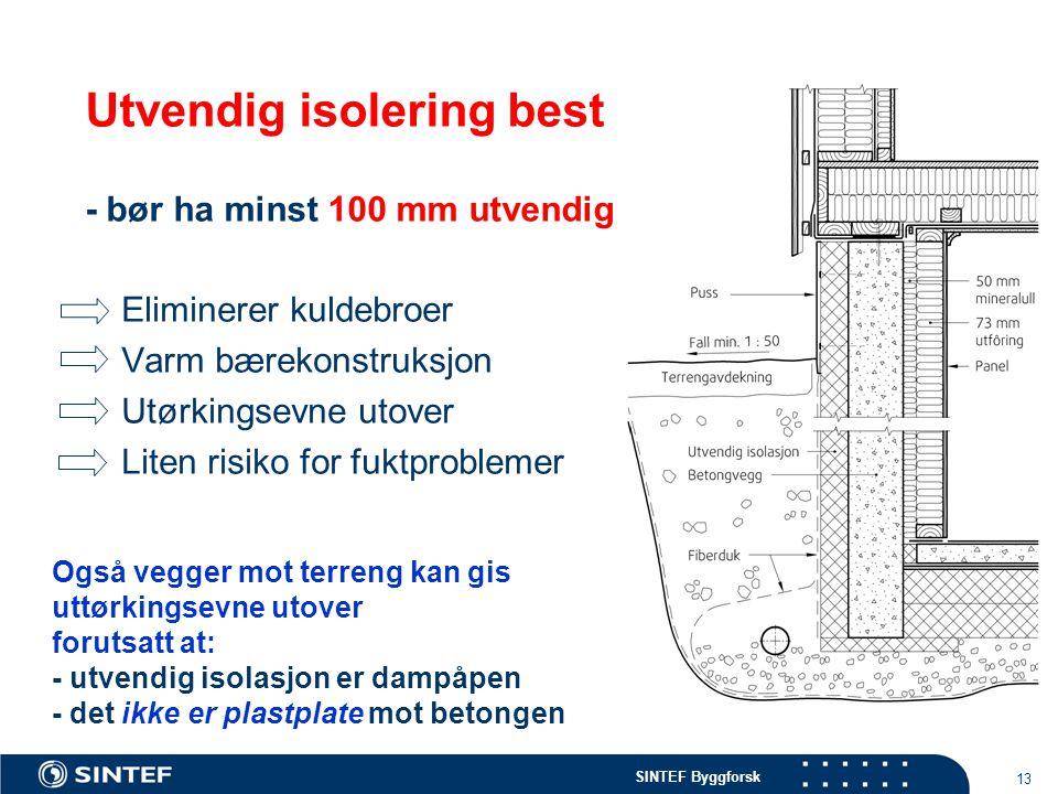 SINTEF Byggforsk 13 Utvendig isolering best - bør ha minst 100 mm utvendig Eliminerer kuldebroer Varm bærekonstruksjon Utørkingsevne utover Liten risi