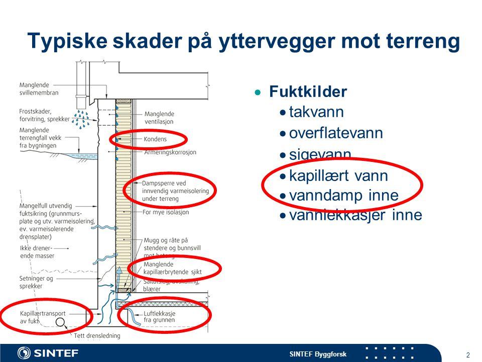 SINTEF Byggforsk 2 Typiske skader på yttervegger mot terreng  Fuktkilder  takvann  overflatevann  sigevann  kapillært vann  vanndamp inne  vann