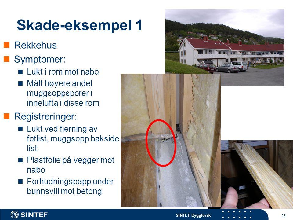 SINTEF Byggforsk 23 Skade-eksempel 1 Rekkehus Symptomer: Lukt i rom mot nabo Målt høyere andel muggsoppsporer i innelufta i disse rom Registreringer: