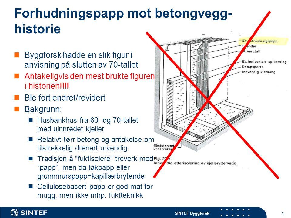 SINTEF Byggforsk 3 Forhudningspapp mot betongvegg- historie Byggforsk hadde en slik figur i anvisning på slutten av 70-tallet Antakeligvis den mest br