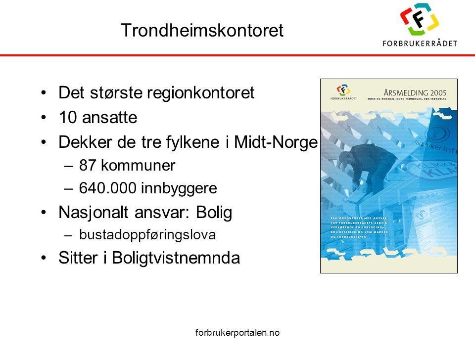 forbrukerportalen.no Trondheimskontoret Det største regionkontoret 10 ansatte Dekker de tre fylkene i Midt-Norge –87 kommuner –640.000 innbyggere Nasj