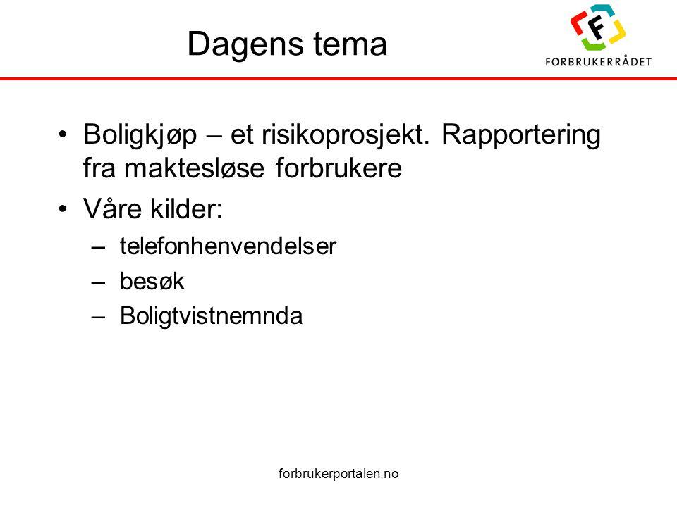 forbrukerportalen.no Dagens tema Boligkjøp – et risikoprosjekt. Rapportering fra maktesløse forbrukere Våre kilder: – telefonhenvendelser – besøk – Bo