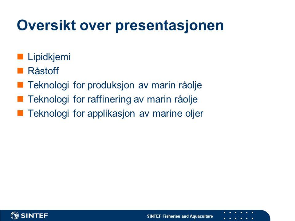 SINTEF Fisheries and Aquaculture Oversikt over presentasjonen Lipidkjemi Råstoff Teknologi for produksjon av marin råolje Teknologi for raffinering av