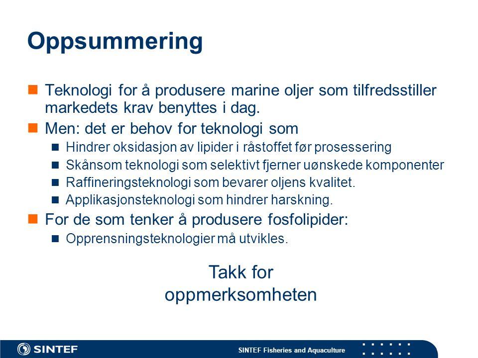 SINTEF Fisheries and Aquaculture Oppsummering Teknologi for å produsere marine oljer som tilfredsstiller markedets krav benyttes i dag. Men: det er be