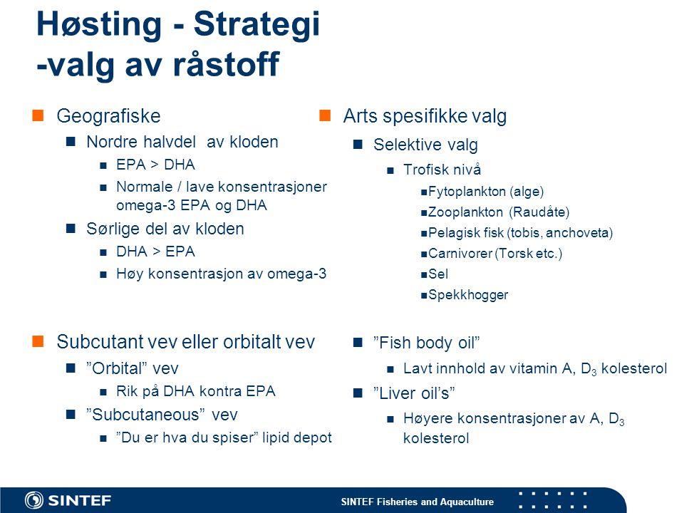 SINTEF Fisheries and Aquaculture Høsting - Strategi -valg av råstoff Geografiske Nordre halvdel av kloden EPA > DHA Normale / lave konsentrasjoner ome