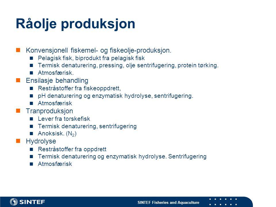 SINTEF Fisheries and Aquaculture Råolje produksjon Konvensjonell fiskemel- og fiskeolje-produksjon. Pelagisk fisk, biprodukt fra pelagisk fisk Termisk