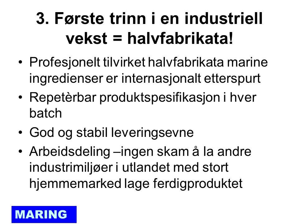 MARING 3. Første trinn i en industriell vekst = halvfabrikata.