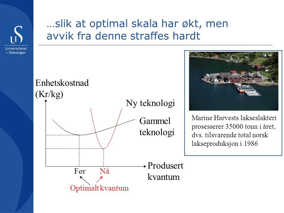 …slik at optimal skala har økt, men avvik fra denne straffes hardt Gammel teknologi Ny teknologi Produsert kvantum Enhetskostnad (Kr/kg) Optimalt kvantum FørNå Marine Harvests lakseslakteri prosesserer 35000 tonn i året, dvs.